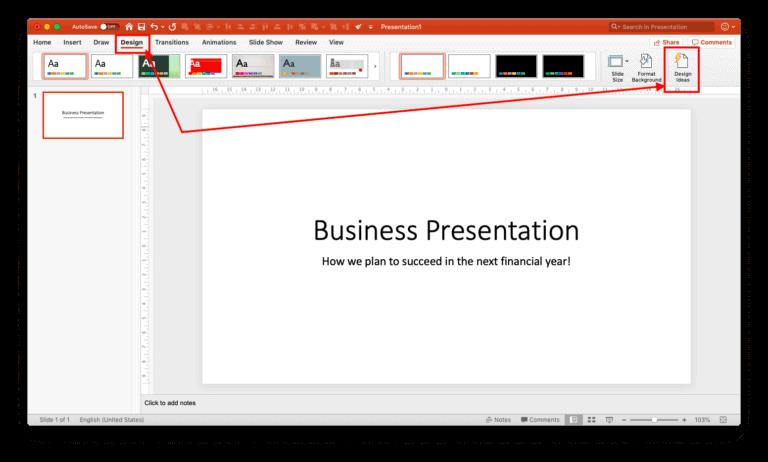 Title slide creation using design ideas - 2