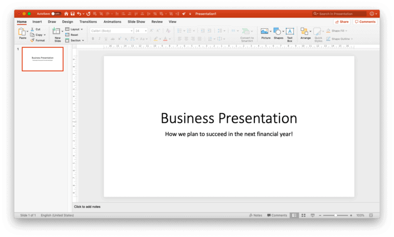 Title slide using design ideas
