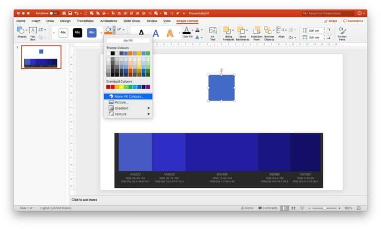 Setting monochromatic scheme in PPT - step 3