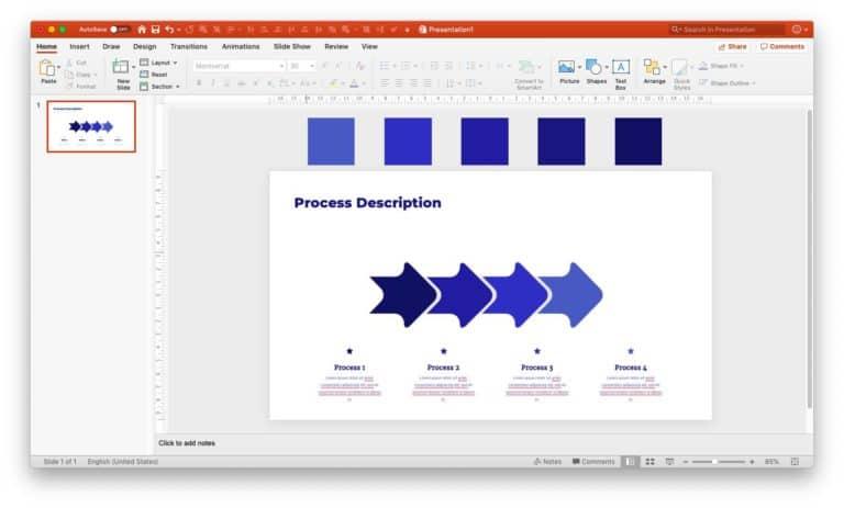 Setting monochromatic scheme in PPT - step 6
